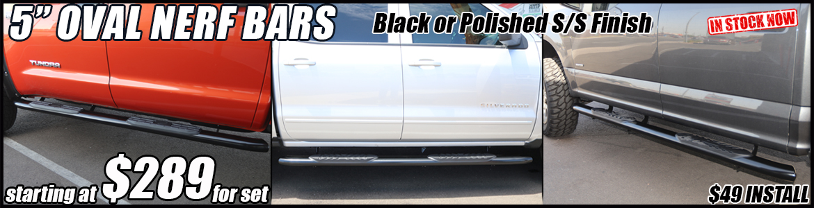 5 inch oval black nerf bars