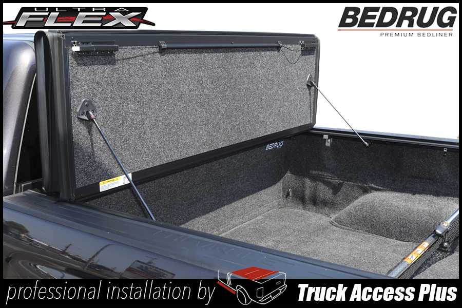 undercover ultra flex hard folding truck bed cover with bedrug bed liner