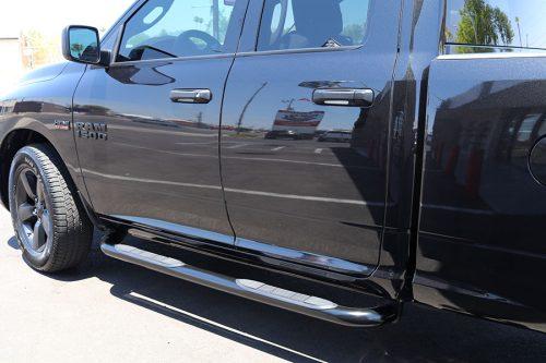 RAM 1500 Quad Cab 3 Inch Round Black Nerf Bars