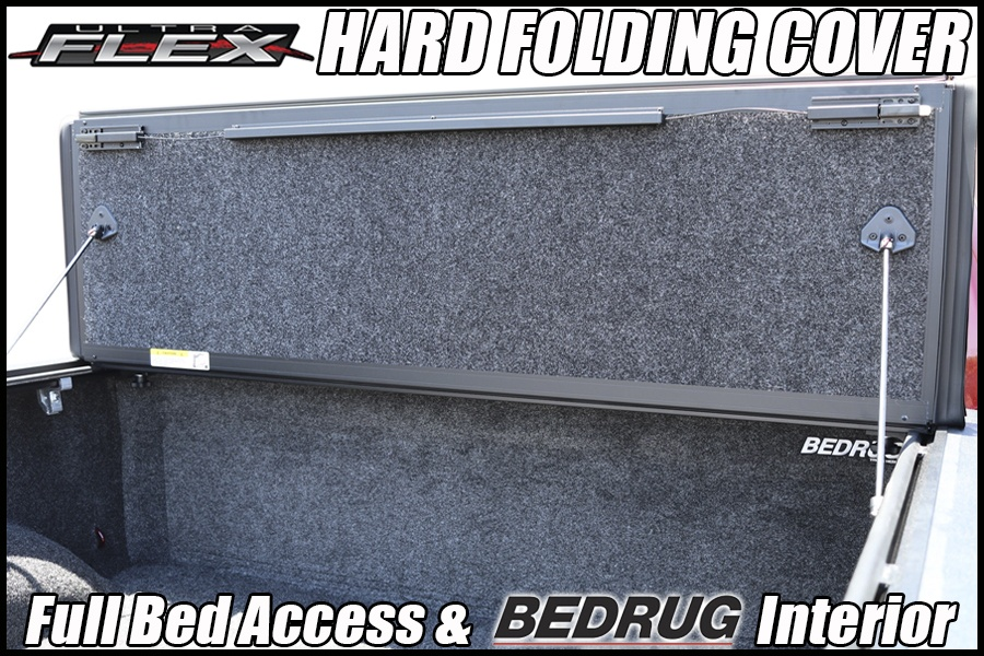 undercover ultra flex hard folding tonneau cover and bedrug truck bed liner