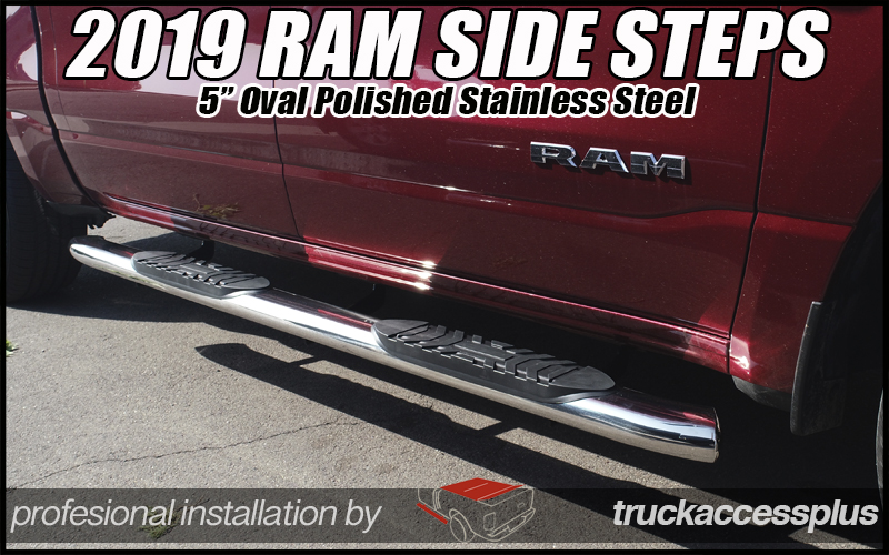 "Ram 1500 Side Steps >> 2019 Ram Crew Cab 5"" Wide Polished S/S Steps - Truck ..."