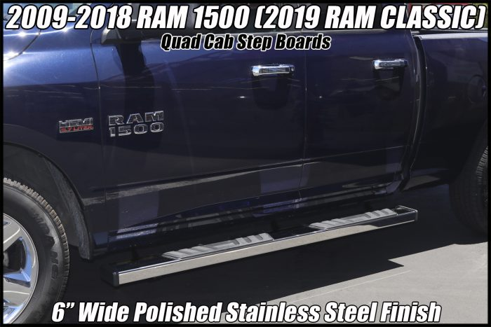 RAM QUAD CAB STEP BOARDS 6 INCH NERF BARS