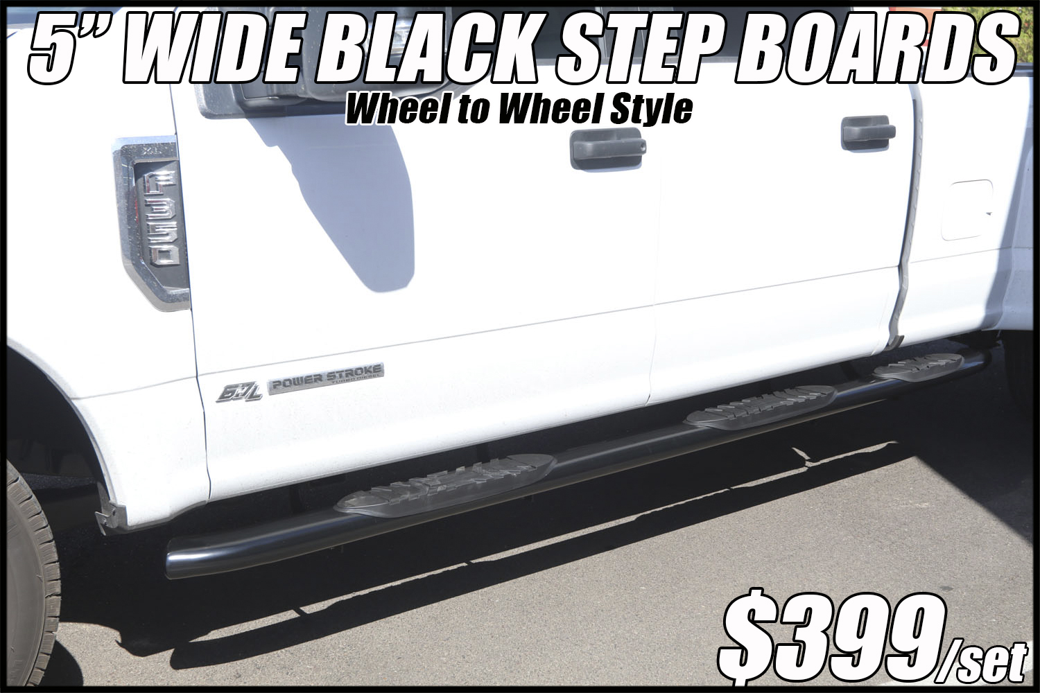 5 inch oval black wheel to wheel nerf bars