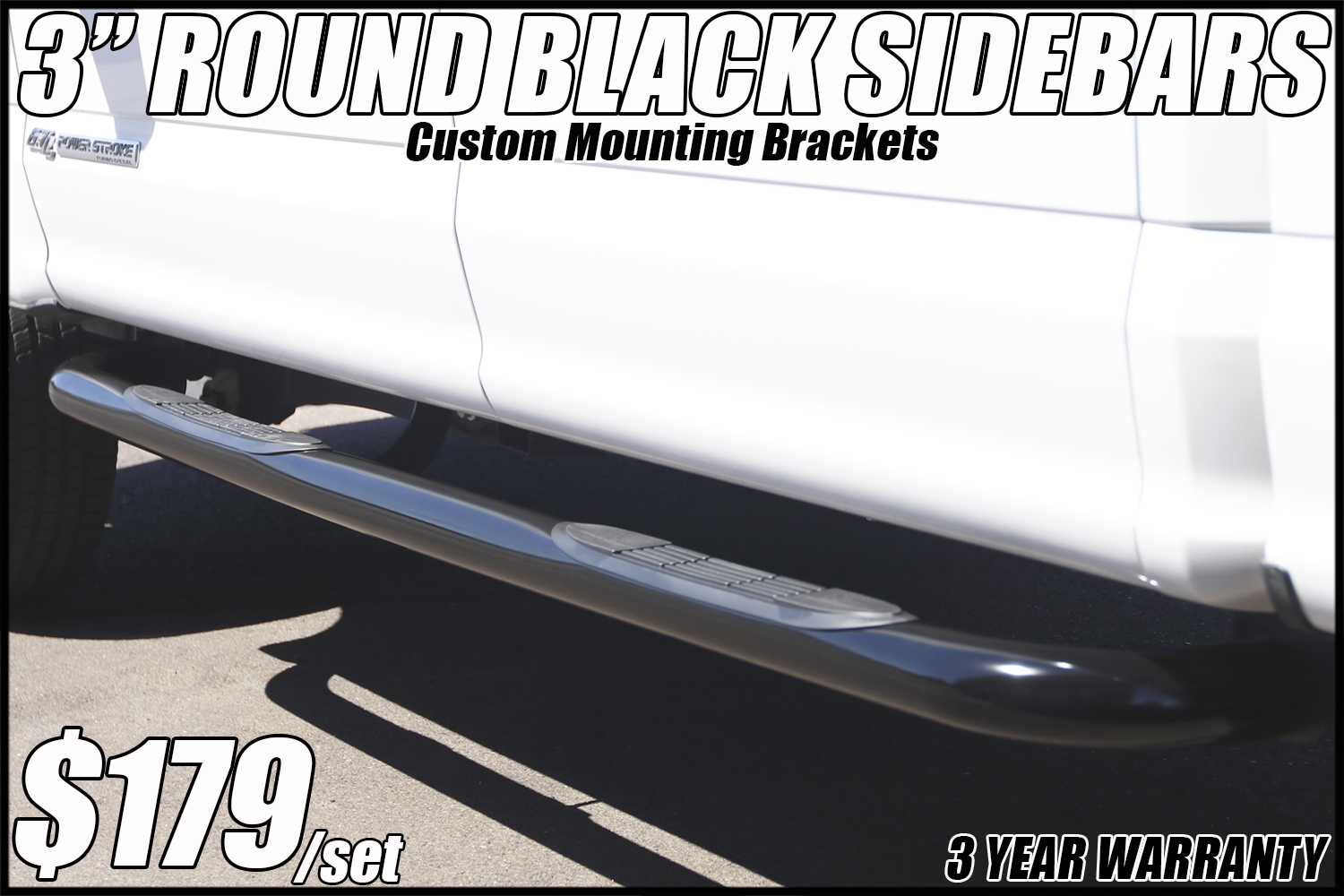 3 inch round black side bars