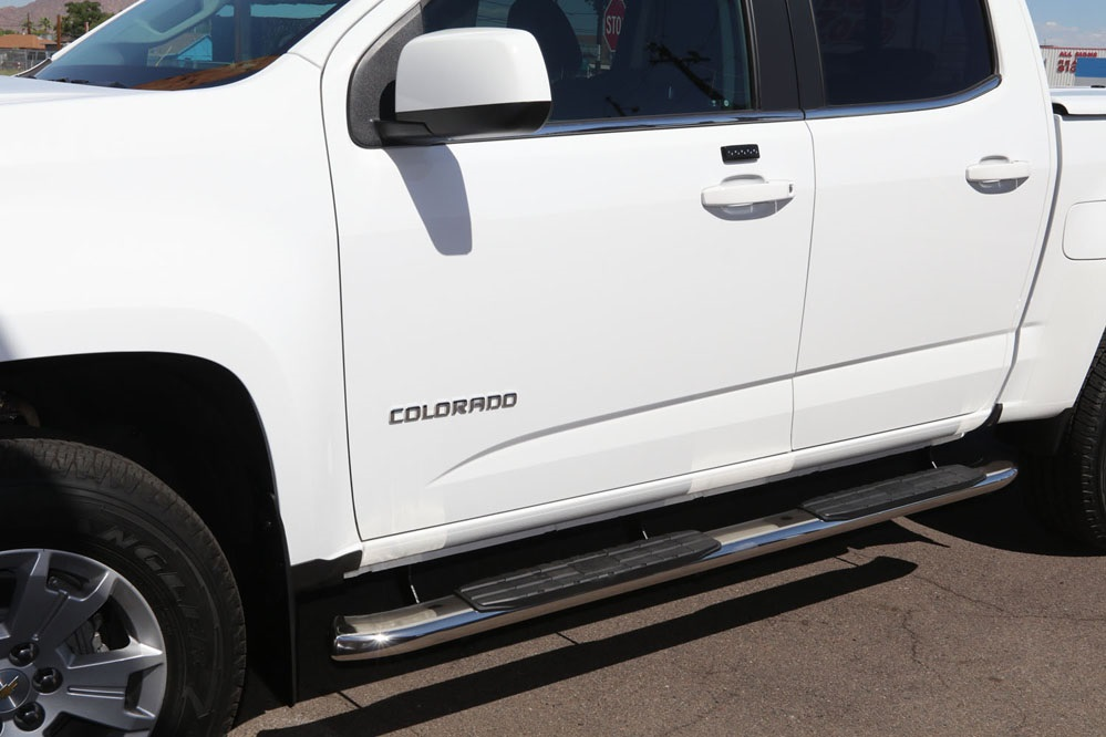 chevy colorado 4 inch oval nerf bars polished running boards