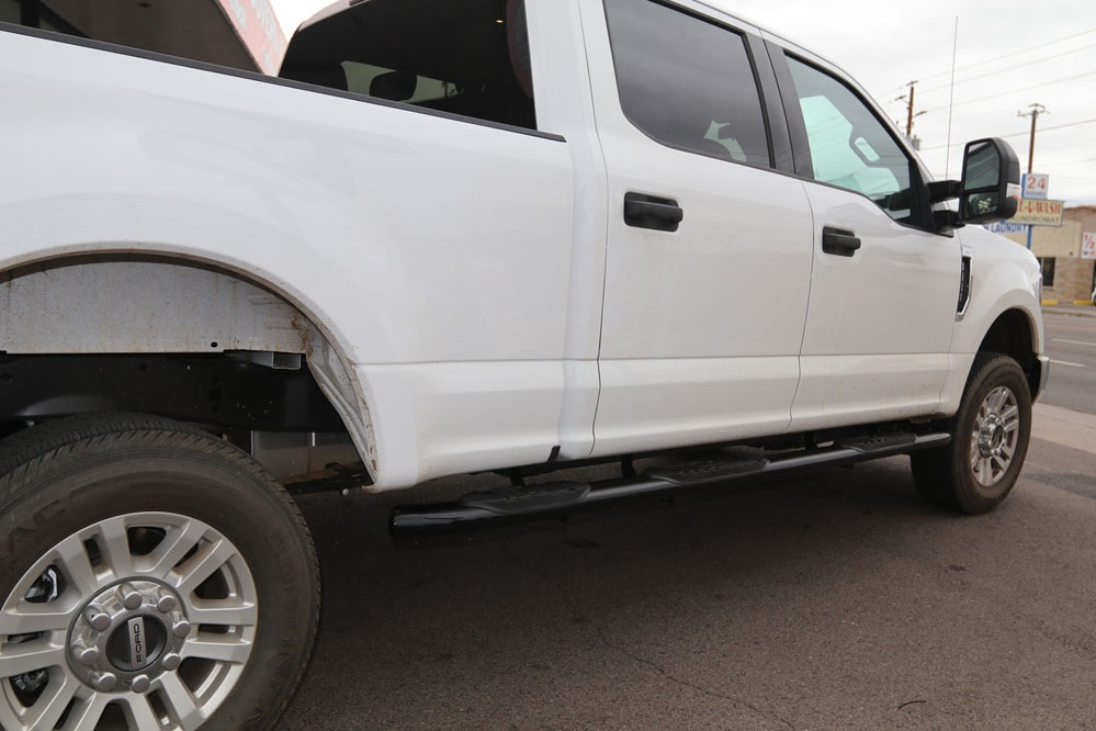 ford f250 running boards black wheel to wheel nerf bars
