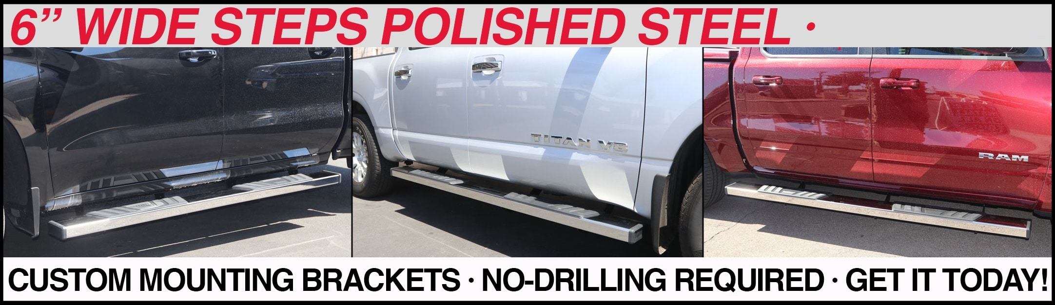 6 inch running boards chrome